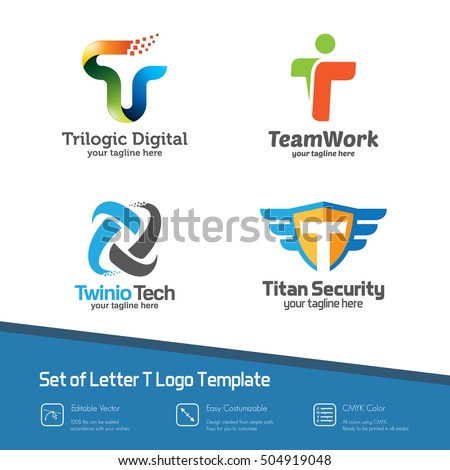 set letter t logo collection