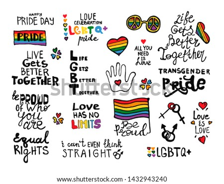 Set Lgbt concept. Hand drawn lettering illustration. Simple design for t-shirts, stickers, and for other design stuff. Parades event announcement banner, placard typographic, vector design.