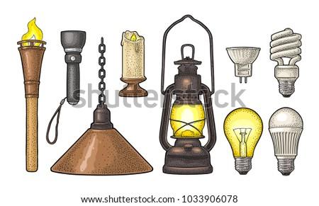 Set lighting object. Torch, candle, flashlight, retro gas lamp, light incandescent bulb, halogen, cfl, led. Vector vintage color engraving illustration on white background. Hand drawn design element