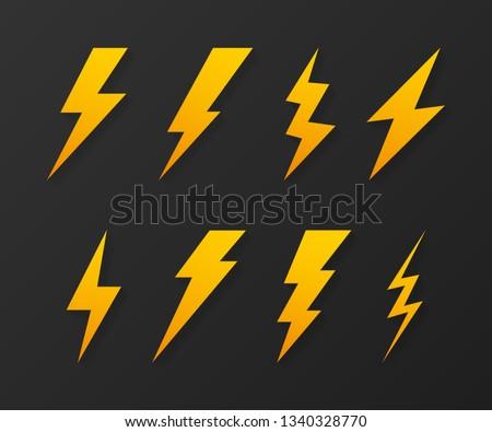 Set Lightning bolt. Thunder bolt, lighting strike expertise. Vector stock illustration.