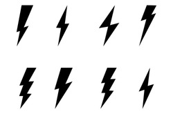 Set Lightning bolt. Thunderbolt, lightning strike, Modern flat style vector illustration.