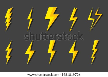 Set Lightning bolt. Thunderbolt, lightning strike. Modern flat style vector illustration. Thunder and Bolt Lighting Flash Icons Set. Flat Style on Dark Background. Vector.