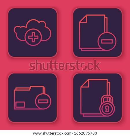 Set line Add cloud, Document folder with minus, Document with minus and Document and lock. Blue square button. Vector