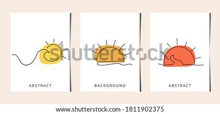 Set line art sun. One line drawing. line art, card, banner, poster flyer, vector illustration. Stock photo ©