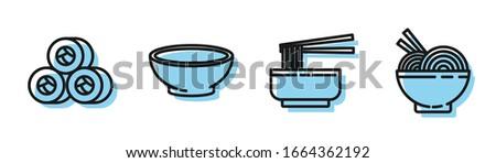 Set line Asian noodles in bowl and chopsticks, Sushi, Bowl of hot soup and Asian noodles in bowl and chopsticks icon. Vector