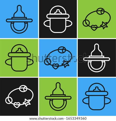 Set line Baby dummy pacifier, Rattle baby toy and Baby bottle icon. Vector