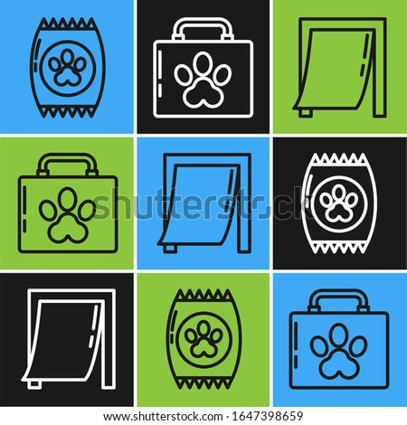 Set line Bag of food for pet, Door for pet and Pet first aid kit icon. Vector