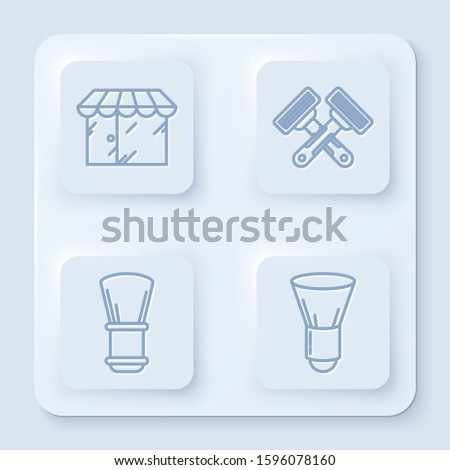 Set line Barbershop building, Crossed shaving razor, Shaving brush and Shaving brush. White square button. Vector