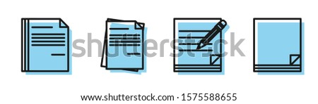 Set line Blank notebook and pencil with eraser, File document, File document and File document icon. Vector