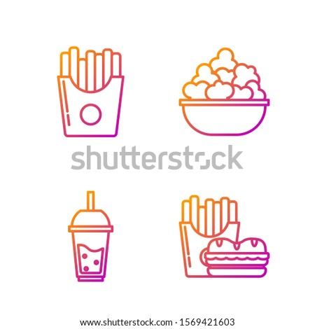 Set line Burger and french fries in carton package box, Glass of lemonade with drinking straw, Potatoes french fries in carton package box and Popcorn in bowl. Gradient color icons. Vector