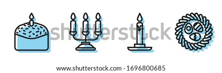 Set line Burning candle in candlestick, Easter cake and candle, Candelabrum with candlesticks and Easter egg in a wicker nest icon. Vector Stockfoto ©