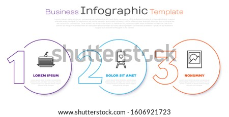 Set line Cake, Wood easel or painting art boards and Photo frames. Business infographic template. Vector