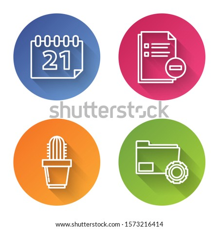 Set line Calendar, Document with minus, Cactus and succulent in pot and Folder settings with gears. Color circle button. Vector