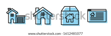 Set line Cardboard box with house, House, House and Hanging sign with text Online Sale icon. Vector