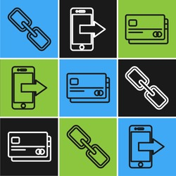 Set line Chain link, Credit card and Smartphone, mobile phone icon. Vector