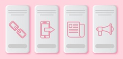 Set line Chain link, Smartphone, mobile phone, File document and Megaphone. White rectangle button. Vector