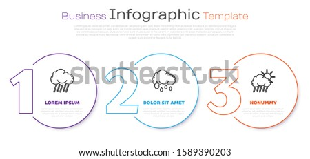 Set line Cloud with rain, Cloud with rain and Cloud with rain and sun. Business infographic template. Vector