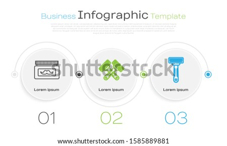 Set line Cream or lotion cosmetic jar, Crossed shaving razor and Shaving razor. Business infographic template. Vector