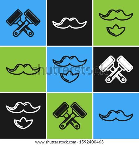 Set line Crossed shaving razor, Mustache and beard and Mustache icon. Vector