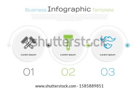Set line Crossed shaving razor, Shaving razor and Mustache and beard. Business infographic template. Vector