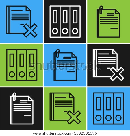 Set line Delete file document, File document and paper clip and Office folders with papers and documents icon. Vector