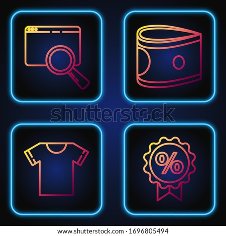 Set line Discount percent tag, T-shirt, Search in a browser window and Stacks paper money cash. Gradient color icons. Vector
