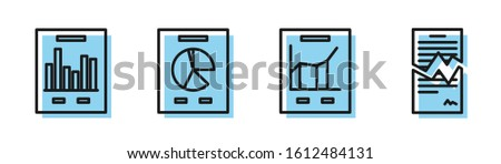 Set line Document with graph chart, Document with graph chart, Document with graph chart and Torn contract icon. Vector