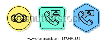 Set line Donut with sweet glaze, Food ordering and Food ordering pizza. Colored shapes. Vector