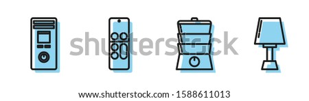 Set line Double boiler , Remote control, Remote control  and Table lamp  icon. Vector