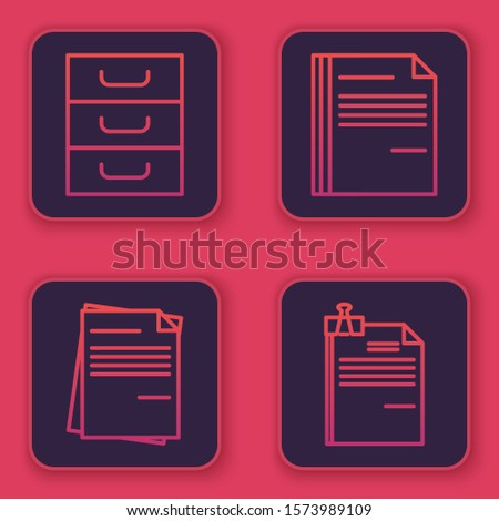 Set line Drawer with documents, File document, File document and File document and binder clip. Blue square button. Vector