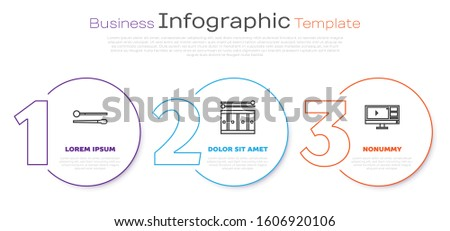 Set line Drum sticks, Drum with drum sticks and Video recorder or editor software on monitor. Business infographic template. Vector