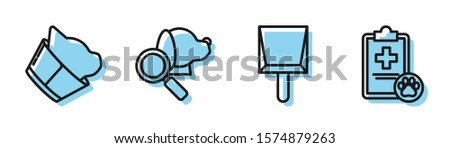 Set line Dustpan, Veterinary clinic symbol, Veterinary clinic symbol and Clipboard with medical clinical record pet icon. Vector