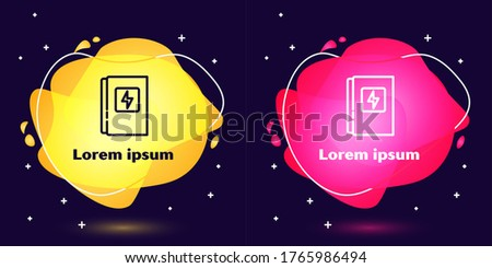 Set line Electrical panel icon isolated on blue background. Abstract banner with liquid shapes. Vector stock photo