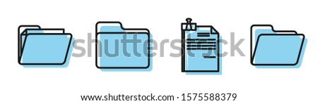 Set line File document and binder clip, Document folder, Document folder and Document folder icon. Vector