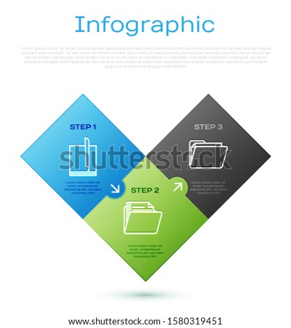 Set line File document, Document folder, Document folder and Pencil case stationery. Business infographic template. Vector