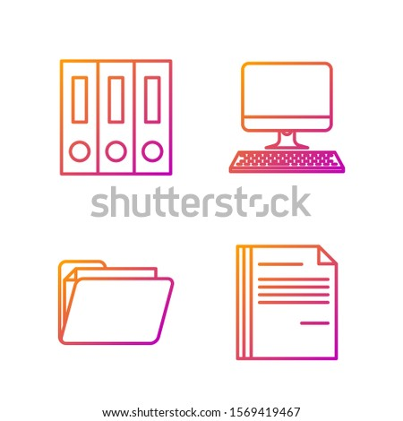 Set line File document, Document folder, Office folders with papers and documents and Computer monitor with keyboard. Gradient color icons. Vector