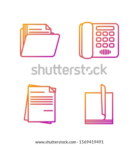 Set line File document, File document, Document folder and Telephone. Gradient color icons. Vector