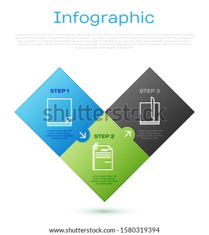 Set line File document, File document, File document and paper clip and Laptop. Business infographic template. Vector