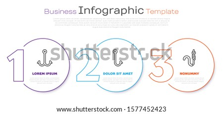 Set line Fishing hook, Fishing hook and Fishing hook and worm. Business infographic template. Vector