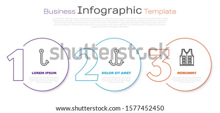 Set line Fishing hook, Fishing hook and Fishing jacket. Business infographic template. Vector