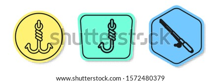 Set line Fishing hook, Fishing hook and Fishing rod. Colored shapes. Vector