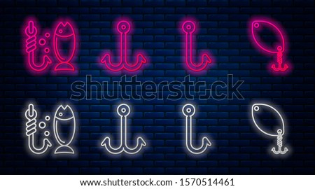 Set line Fishing hook, Fishing hook, Fishing and Fishing spoon. Glowing neon icon on brick wall. Vector