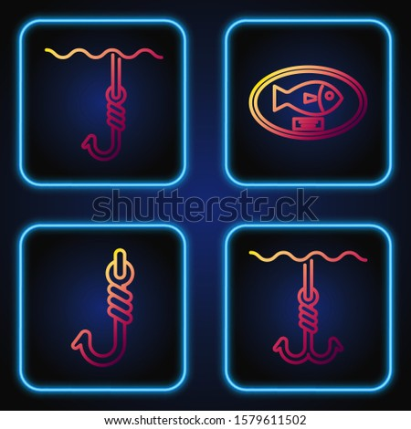Set line Fishing hook under water, Fishing hook, Fishing hook under water and Fish trophy hanging on the board. Gradient color icons. Vector
