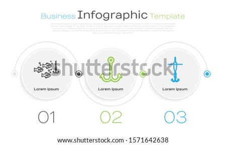 Set line Fishing hook under water with fish, Fishing hook and Fishing hook and float. Business infographic template. Vector