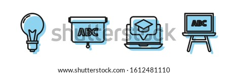 Set line Graduation cap on screen laptop, Light bulb with concept of idea, Chalkboard and Chalkboard icon. Vector