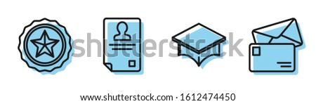 Set line Graduation cap, Police badge, Identification badge and Envelope icon. Vector