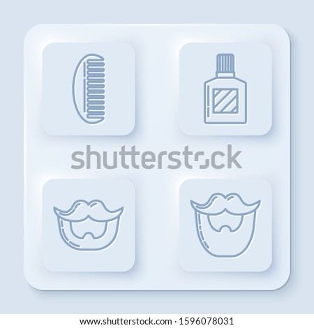 Set line Hairbrush, Aftershave, Mustache and beard and Mustache and beard. White square button. Vector