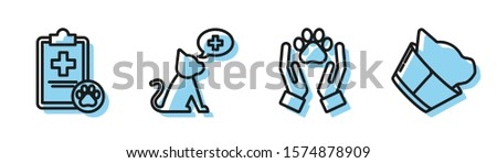 Set line Hands with animals footprint, Clipboard with medical clinical record pet, Veterinary clinic symbol and Veterinary clinic symbol icon. Vector