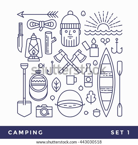 set line icons camping tourism