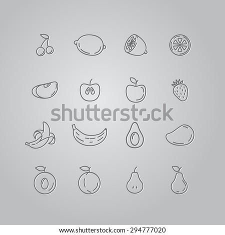 Set line icons fruit. Banana, apple, strawberry, cherry, pear, avocado, mango, lemon, peach. Vector illustration